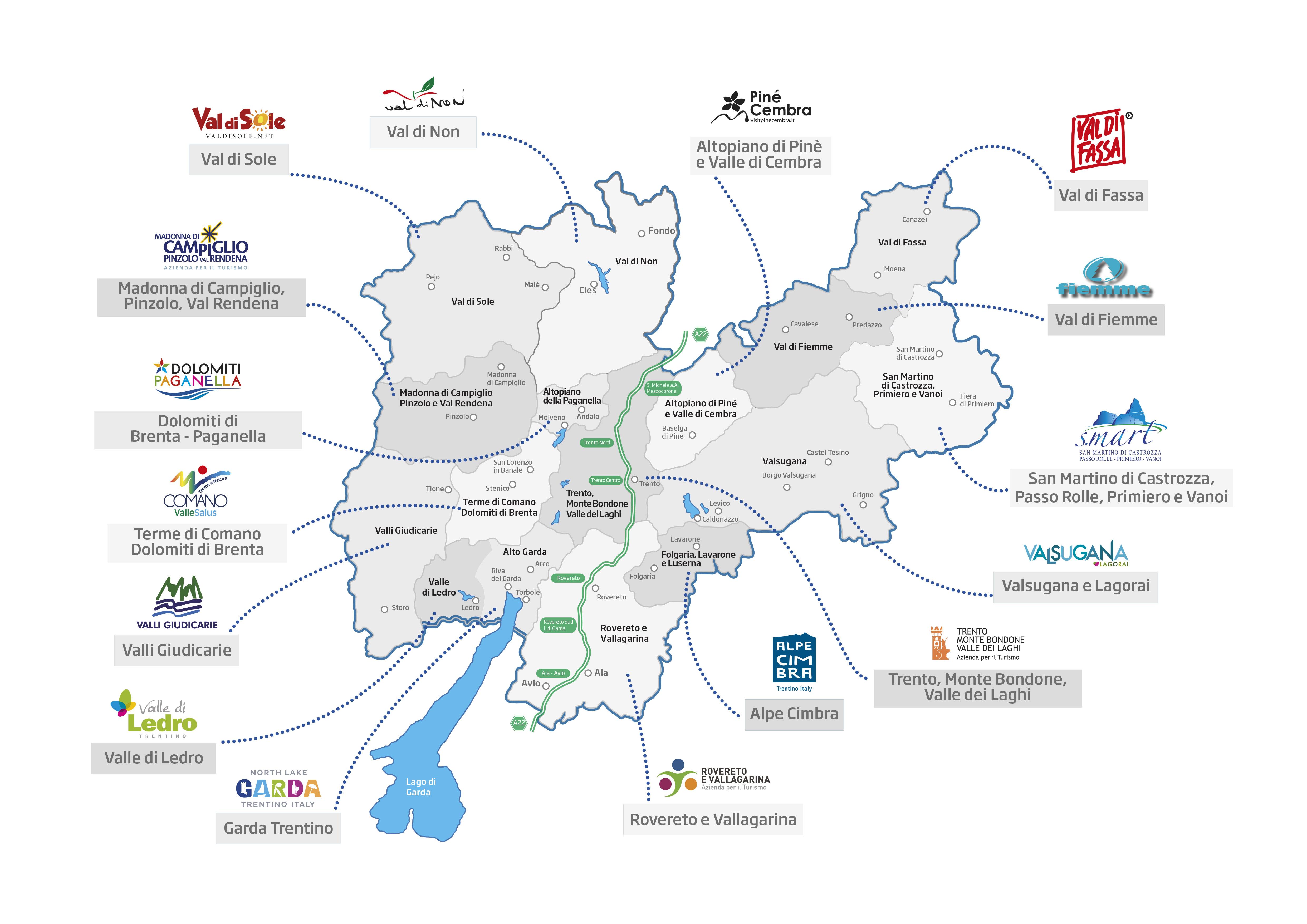 Cartina Trentino.Cartina Trentino Loghi Apt Nuova Good Buy Trentino